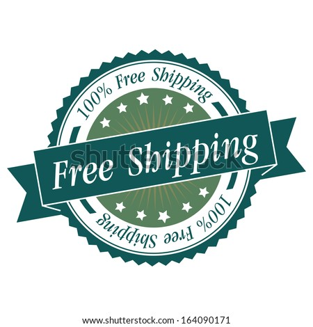 Free shipping stamp, sticker, tag, label, sign, icon with green color.JPG - stock photo