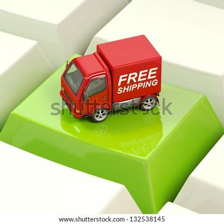 Free shipping truck on a green keyboard key - stock photo