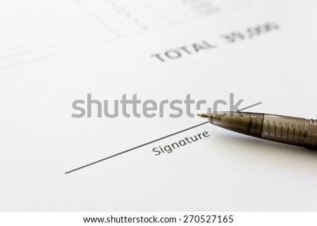 Free space for signature. Signature concept - stock photo