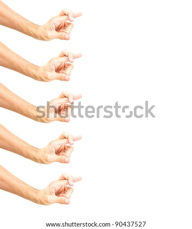 free space for text with frame made of hands showing crossed fingers, body part isolated on white background - stock photo