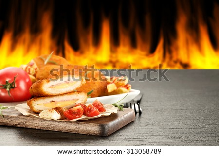 free space on desk and fire with food decoration  - stock photo