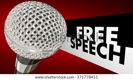Free Speech words beside a 3d microphone to symbolize the first amendment and freedom of expression - stock photo