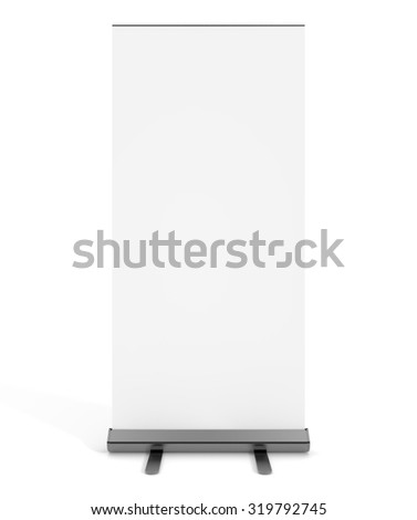 Free standing blank white display sign isolated on a white background.