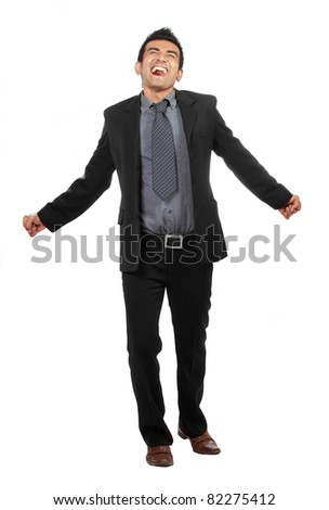 Free successful young businessman on white background - stock photo