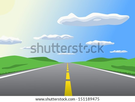 Free sunny highway going up to the horizon. Raster version of vector id: 30480952 - stock photo