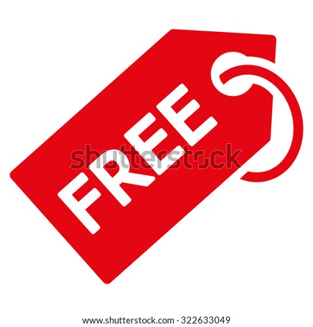 Free Tag glyph icon. Style is flat symbol, red color, rounded angles, white background. - stock photo