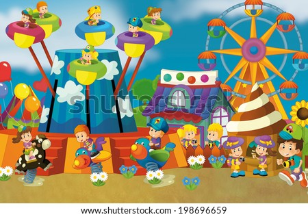 Free time - children at playground - illustration for the children - stock photo