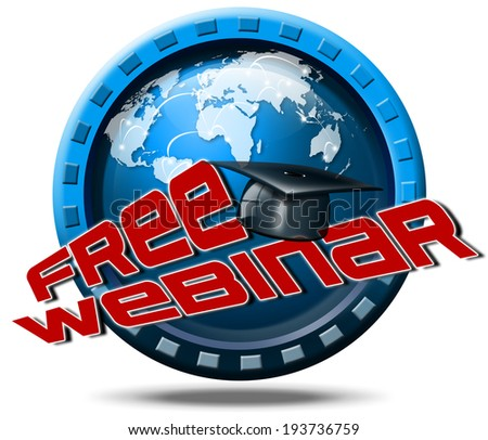 Free Webinar Icon Web-based Seminar / Free webinar online conference internet web meeting or workshop live video chat - icon or button - stock photo