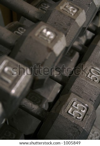 Free Weight Dumbell Rack - stock photo
