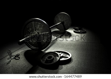 Free Weight Olympic Bar - stock photo
