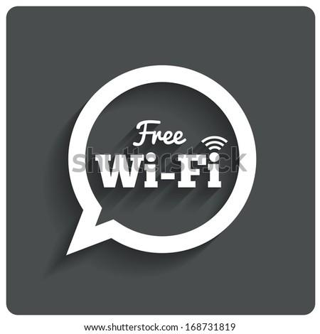 Free wi-fi icon. Wifi speech bubble. Wireless Network symbol. Wifi zone. Flat icons. . - stock photo
