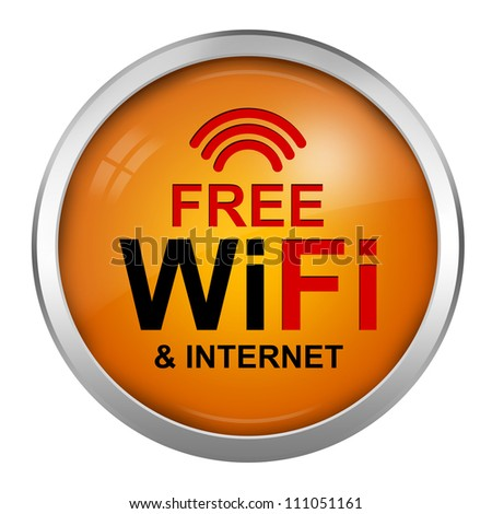 Free Wifi and Internet Sign With Circle Orange Glossy Style Icon Isolate on White Background - stock photo