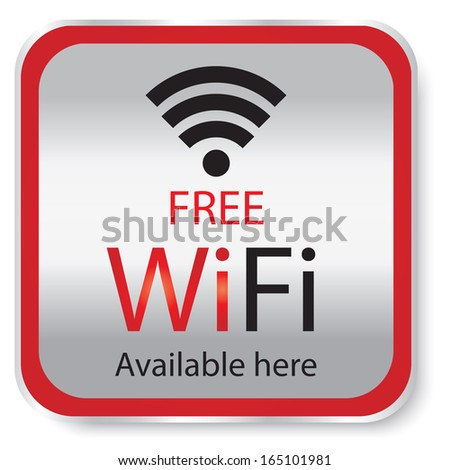 Free wifi available here sign with red and silver square isolated. JPG - stock photo