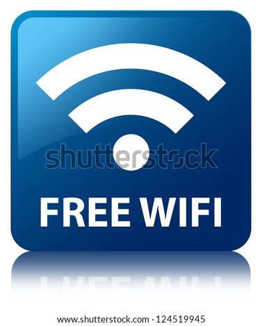 Free wifi glossy blue reflected square button - stock photo
