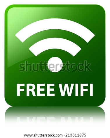 Free wifi glossy green reflected square button