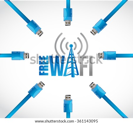 free wifi multiple connections concept illustration design graphic - stock photo