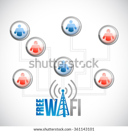 free wifi people male and female diagram connection sign illustration design graphic - stock photo