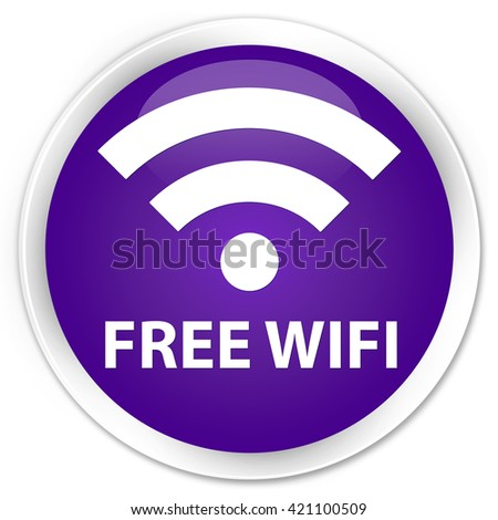 Free wifi purple glossy round button
