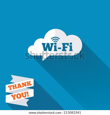 Free wifi sign. Wifi symbol. Wireless Network icon. Wifi zone. White flat icon with long shadow. Paper ribbon label with Thank you text.