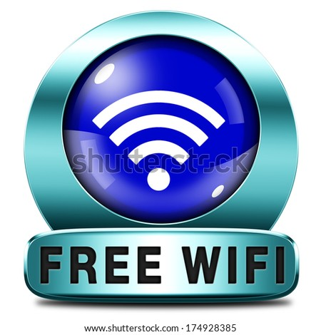 free wifi zone area and internet access icon or button