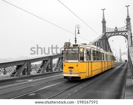 Freedom Bridge in Budapest, Hungary (misty morning) - stock photo