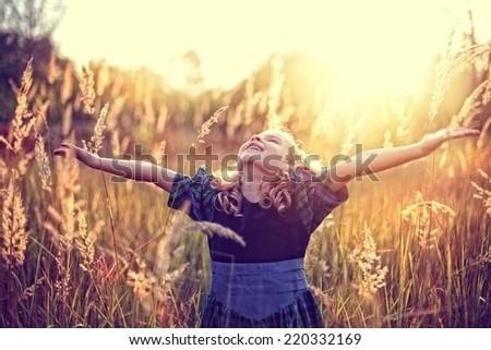 Freedom! carefree childhood - stock photo