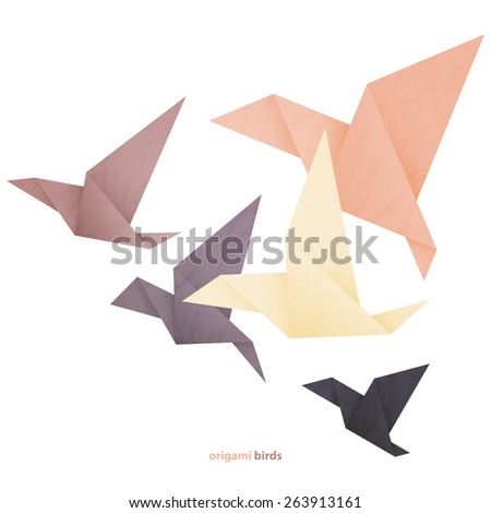freedom concept image with five origami birds isolated on white background - stock photo