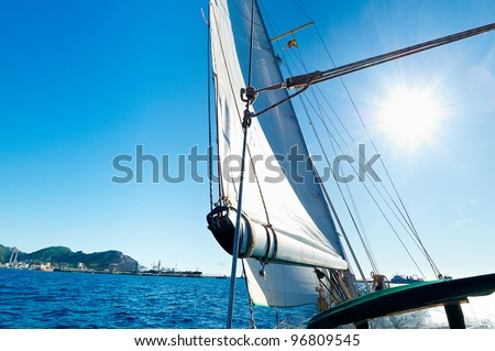 Freedom concept: Sailing boat in the sea
