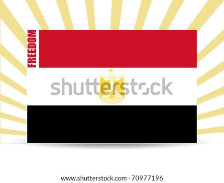 Freedom egypt flag illustration design with rays of light - stock photo