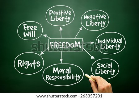 Freedom mind map business concept on blackboard - stock photo