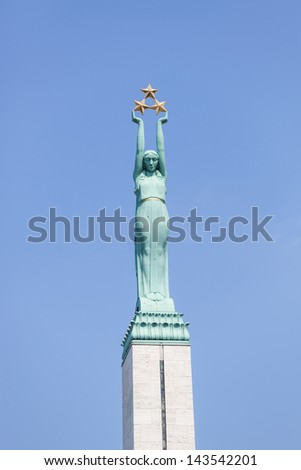 Freedom Monument in Riga - stock photo