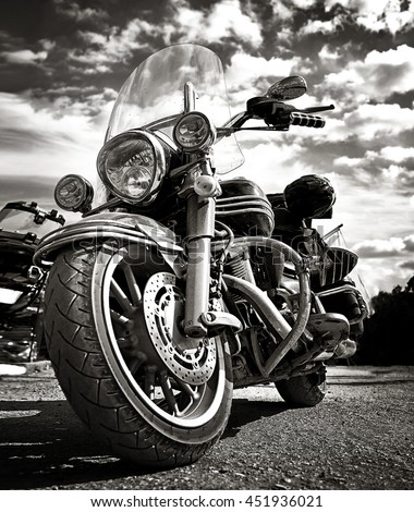 Freedom.Motorbike under sky.Vintage photo effect added for create atmosphere - stock photo