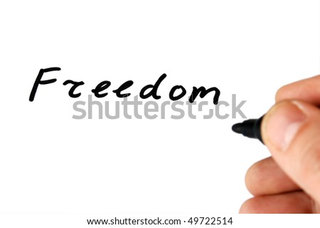 Freedom note and hand isolated on white background