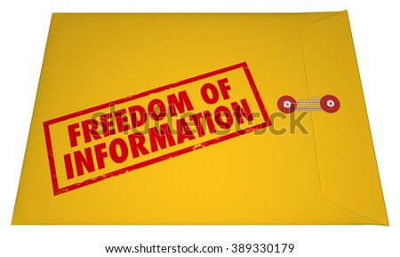 Freedom of Information Act Government Documents Unsealed Envelope 3D - stock photo
