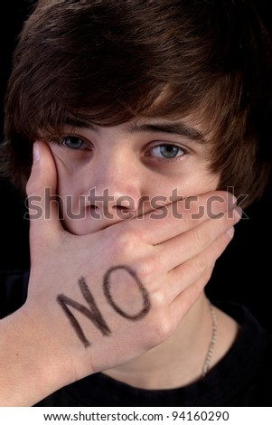 Freedom of speech and expression concept - silenced protest - stock photo