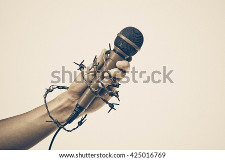 Freedom of the press is at risk concept - World press freedom day concept - stock photo