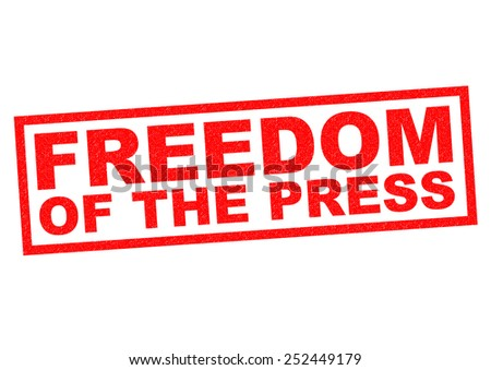 FREEDOM OF THE PRESS red Rubber Stamp over a white background. - stock photo