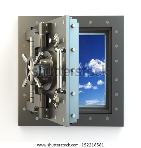Freedom. Opening vault door and sky behind it. 3d - stock photo