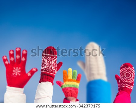 Freedom People Family Hands Blue Sky Background - stock photo