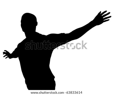 Freedom pose man silhouette illustration - stock photo
