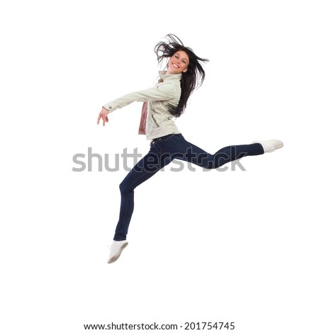 Freedom. Smiling woman split jumping. Full length studio shot isolated on white. - stock photo