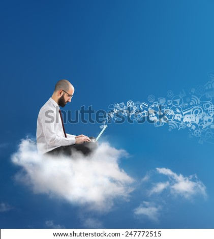 freedom to communicate and work with cloud technology  - stock photo