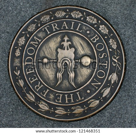 Freedom Trail Marker, Boston, Massachusetts - stock photo