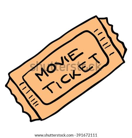 freehand cartoon illustration movie ticket - stock photo
