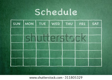Freehand chalk doodle sketch of blank monthly grid timetable schedule on green chalkboard background: Hand drawn study/ business planner on chalkboard with weekly day and empty copy space for date