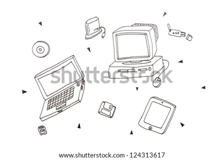 Freehand Draw Electronic Items Modern Style Stock Photo (Edit Now ...