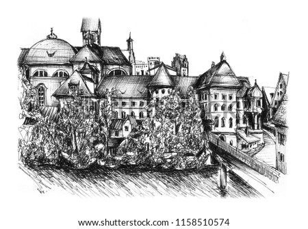 Freehand drawing of Fuessen in Bavaria Germany