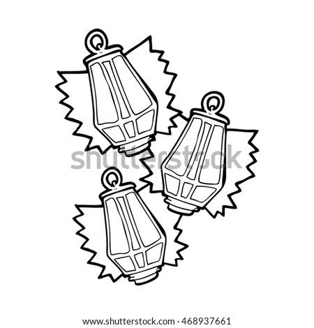 Freehand Drawn Black And White Cartoon Christmas Lanterns