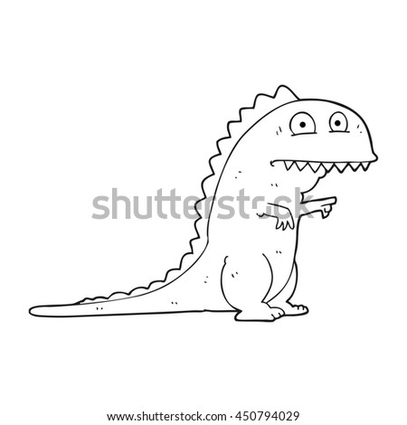 freehand drawn black and white cartoon dinosaur