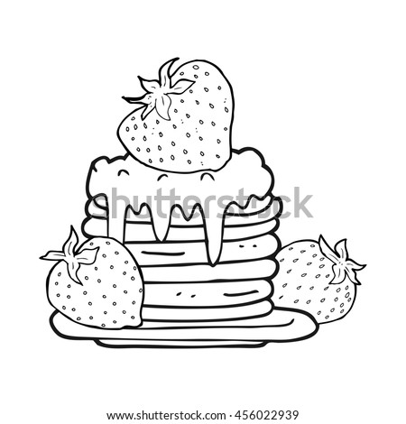 freehand drawn black and white cartoon pancake stack with strawberries - stock photo